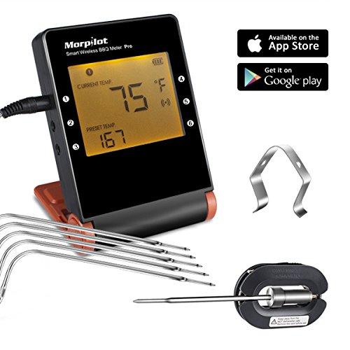 digital thermometer fleisch mit 6 f hler morpilot bluetooth grillthermometer funk. Black Bedroom Furniture Sets. Home Design Ideas